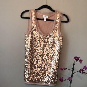 Ann Taylor- Gold Sequined Tank Top